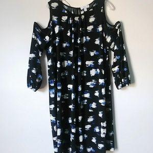 Boutique Plus 1X cold Shoulder Midi Black Dress